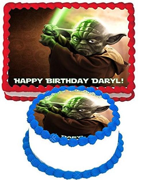 Star Wars Yoda Edible Cake Image For Quarter Sheet Or Round Etsy