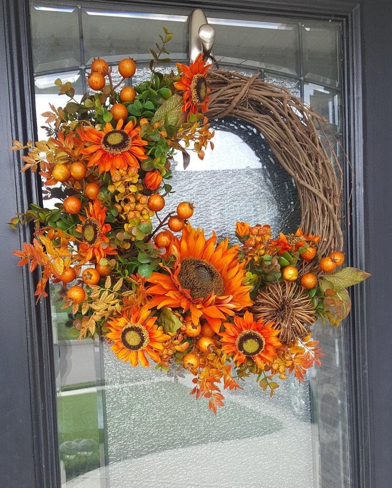 Fall Pumpkin Wreath with Sunflowers Outdoor Decor Autumn Wreath Housewarming Gift Grapevine Wreath for Door