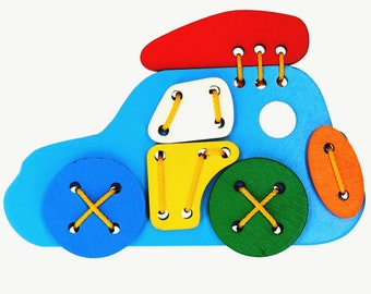 Wooden Lacing Car Toy, Lacing Car toy, Wooden Car toy, Montessori toys, Educational Toy, Toddler Boy Toy, Waldorf Toy, Learning sewing toy