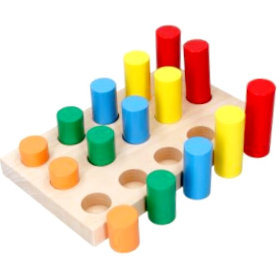 Rainbow Cylinders set 15, Montessori wooden educational puzzle, Color  sorter, Shape Sorter, Waldorf Educational toy, Montessori toddler toy