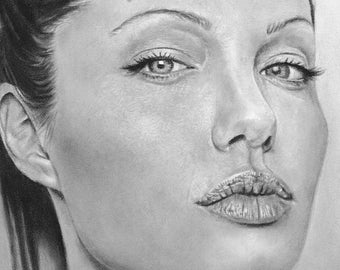 Angelina Jolie Charcoal