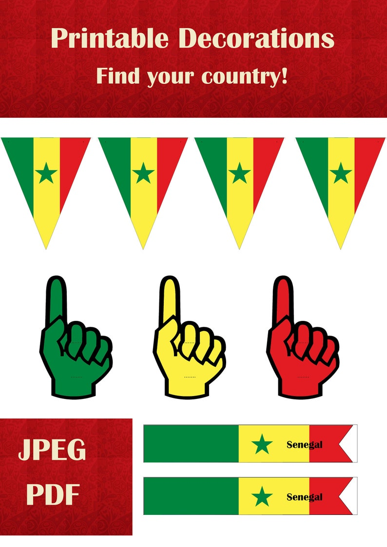 graphic regarding Flags of the World Printable Pdf identified as Video game decorations Senegal Printable very little foam hands, flag bunting and minor flags JPEG and PDF