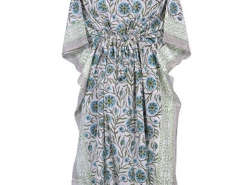 Cotton Long Kaftan Beach Maxi Poncho Dress Woman/'s hand Block Printed Kaftan Loose Kaftan Beach Maxi Dress. Indian Tunic