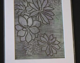 Original succulent inspired lino monoprint, handmade, mounted