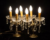 Pair Crystal and Brass Candlesticks Girandole Table Chandeliers with Cherubs, Restored Working Lamp