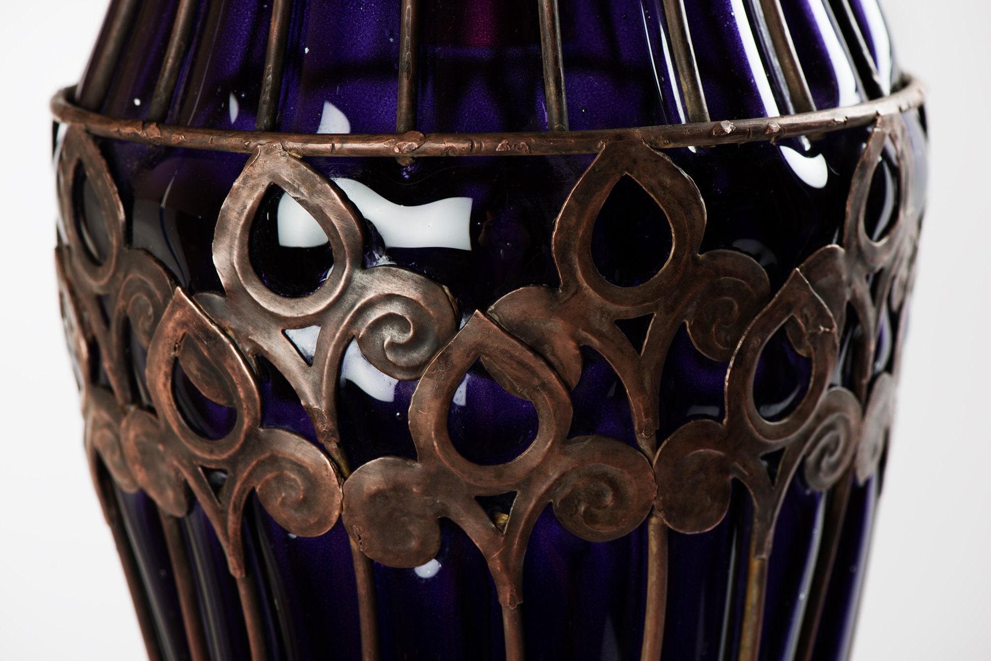 Cobalto Blu Vetro Gabbia Ciondolo Lampada Vintage Luce Fatta A