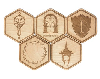 Lord of the Rings Inspired Coasters Set