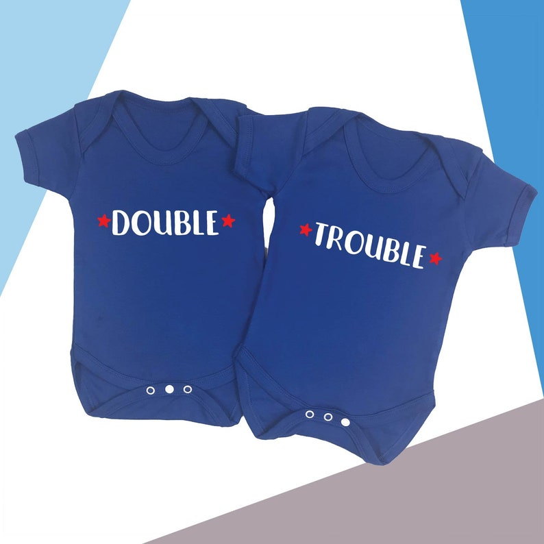 Double Trouble Twins Baby Vests Babygrow Baby Twin Gifts Set Baby Shower