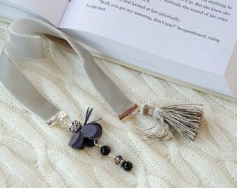 Light grey color velvet ribbon bookmark  with flower charm and tassel