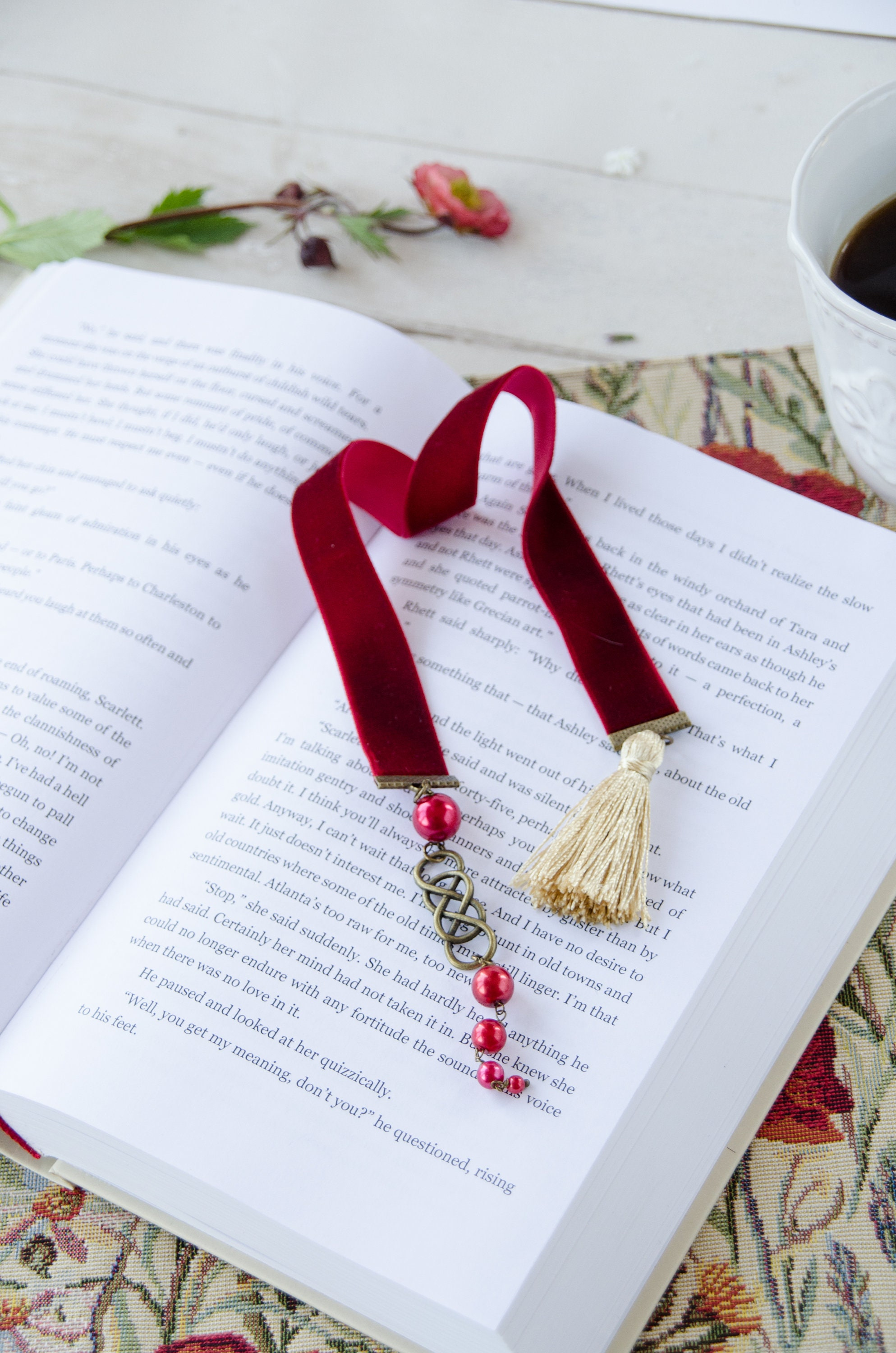 Double infinity velvet ribbon bookmark with tassel, nice gift idea for one  who adores reading