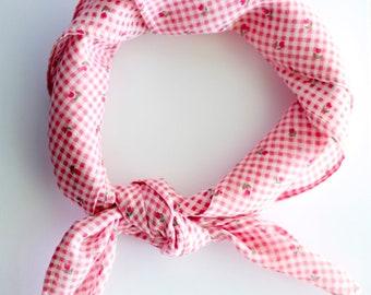 Pink Gingham and Floral neck scarf / handkerchief / bandana / headband | Handmade by GrandThreads on Etsy