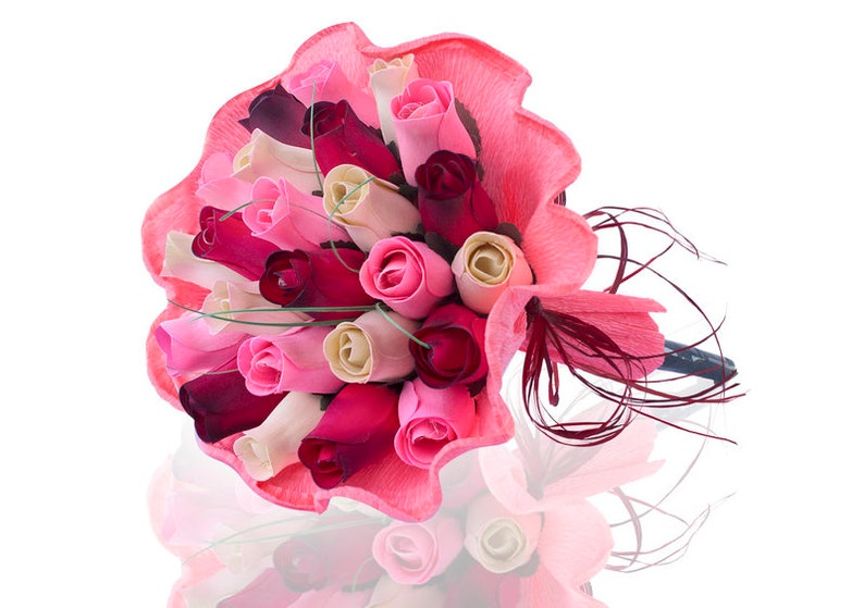 Wooden Rose Bouquet Olivia Paper Wrapped