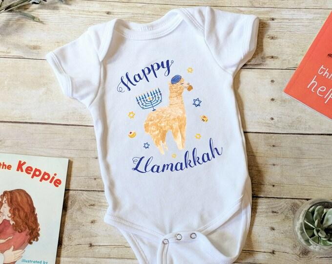 Hanukkah Onesie®, Llamakkah, Chanukah Baby Bodysuit, Hanukkah Shirt, Latke Shirt, Chanukah Shirt, Jewish Holiday, Gelt Menorah Sufganiyot