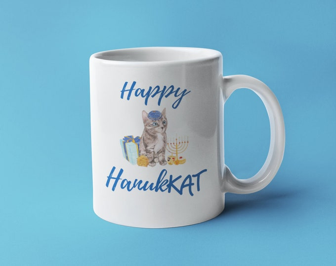 Happy HanukKAT, Hanukkah Mug, Chanukah Gift, Cat Lover Mug, Jewish Mug, Holiday Mug, Coffee Tea, Driedel Menorah, Gift Present, Latke Israel