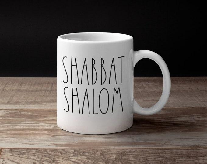 Shabbat Shalom Mug, Jewish Mug, Shabbat Cup, Hebrew, Israel, Coffee Cup, Tea, Jewish Wedding Gift, Shabbos, Passover, Kiddush, L'Chaim