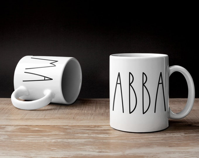 IMA Mug, ABBA Mug, Jewish Mug, Jewish Mom, Jewish Dad, Shabbat Shalom, Hebrew, Israel, Coffee Cup, Fathers Day Gift, Mother's Day, Taglit