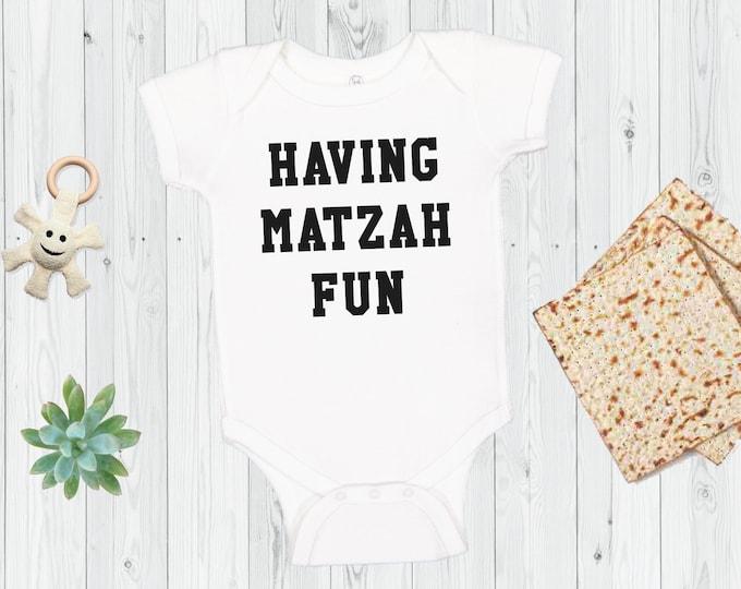 Passover Onesie®, HAVING MATZAH FUN, My First Passover, Pesach Onesie®, Bodysuit, Seder, Shirt, Matzah, Jewish Infant, Kids Matzo Baller Tee
