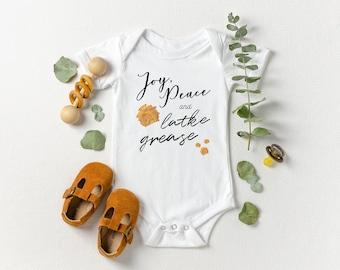 Joy, Peace, & Latke Grease - Hanukkah Baby Bodysuit