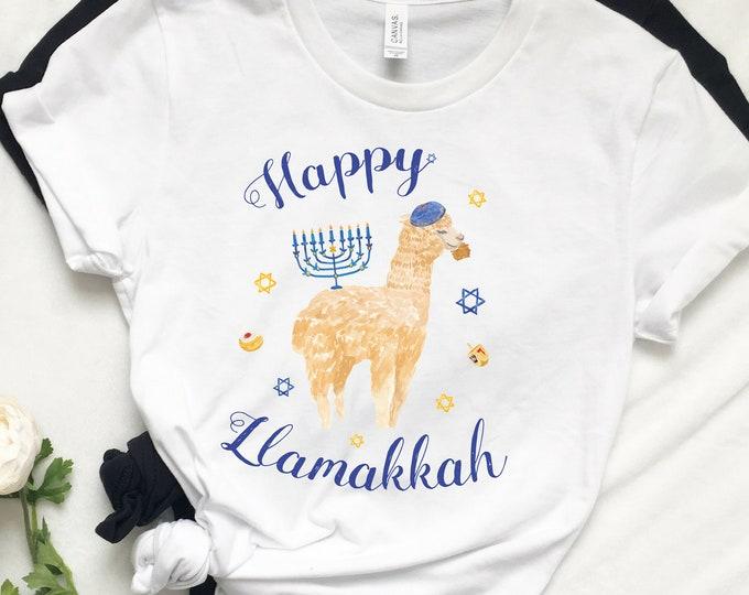Llamakah, Happy Hanukkah Shirt, Latke Shirt, Women's Hanukkah Shirt, Mens Hanukkah, Chanukah Shirt, Jewish Holiday, Gelt Menorah Sufganiyot