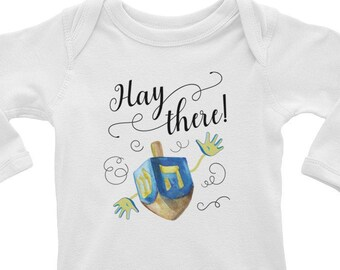 Dreidel Onesie®, Hanukkah Onesie®, Chanukah Baby Bodysuit, Hanukkah Shirt, Gelt, Chanukah Shirt, Latke, Jewish Holiday, Menorah, Llamakkah