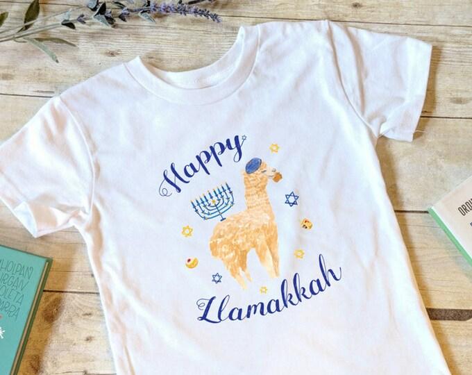 Kids Hanukkah Shirt, Llamakkah, Girls Hanukkah Shirt, Boys Hanukkah, Toddler Hanukkah, Latke Shirt, Chanukah Shirt, Gelt Menorah Dreidel