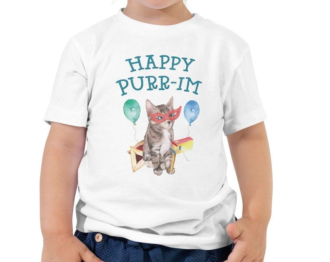Toddler Purim Shirt, Happy Purim (Purr-im) Tshirt, Kids Purim Outfit, Boys, Girls, Costume, Hamantaschen, Kitten, Jewish Onesie®, Shabbat