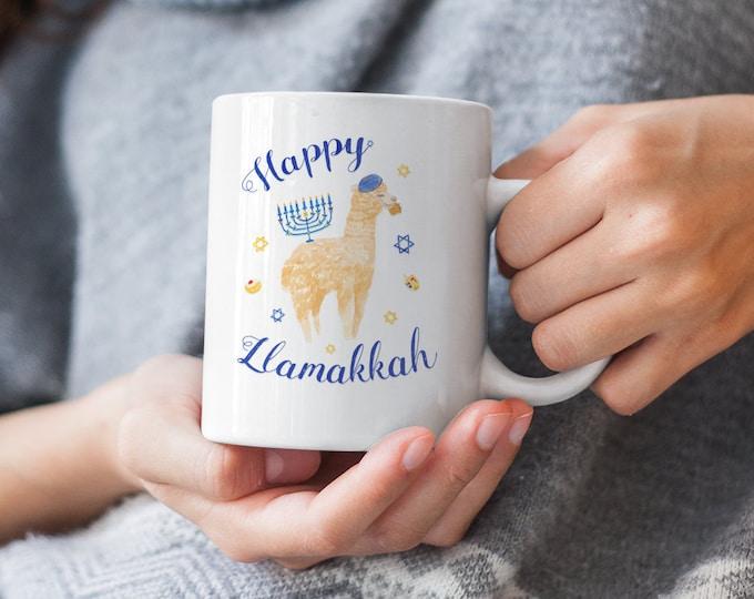 Happy Llamakkah Mug, Hanukkah Mug, Tea Cup, Hanukkah Gift, Chanukah, Llamukkah, Chrismukkah, Merry Hanukkah, Present, Dad Mom Sister, Rabbi