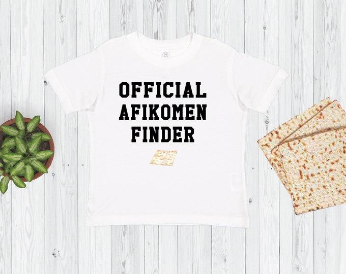 Kids Passover Shirt, OFFICIAL Afikomen Finder, Toddler Passover Tshirt, Pesach Shirt, Seder, Matzo, Boys, Girls, Youth, Matzah Baller, Chai