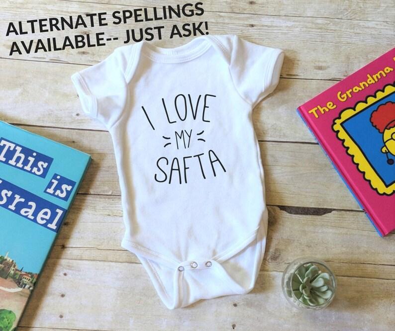 000f2764d845d I Love My Safta Onesie® Zayde Shirt Jewish Baby Gift Jewish | Etsy