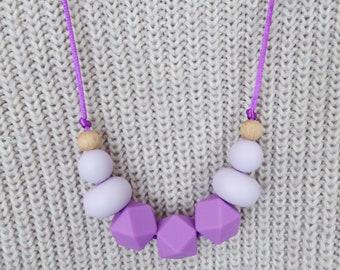 Teething Necklace Silicone Beads Teething Necklace For Mum Purple Teething Necklace BPA free Beaded Necklace Chewable Beads Necklace Teether