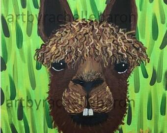 Alpaca Painting, Alpaca Farm, digital print, Llama art, funny alpaca, alpaca face, alpaca gift, alpaca field, alpaca brown, buck teeth