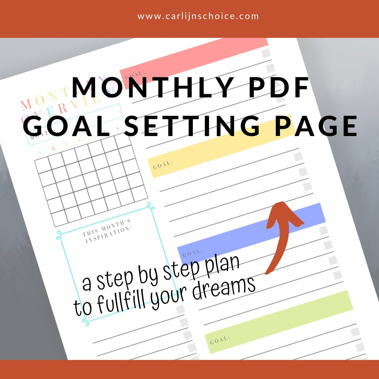 Monthly Goal Setting Page