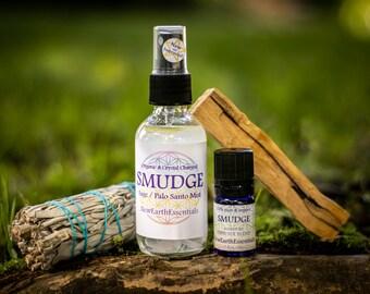 Clear the Vibes Smudge bundle - Organic Sage & Palo Santo Spray and Diffuser Blend - White Sage Bundle - Palo Santo Stick
