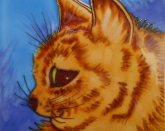 Ceramic hand painted cat art tile 6 x 6 inches with easel back