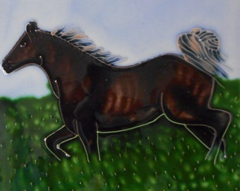 Horse hand painted ceramic art tile  6 x 6 inches with easel back