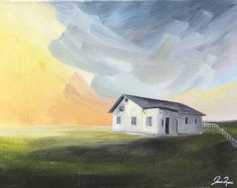 Original Acrylic Landscape Painting, Runaway Sky I