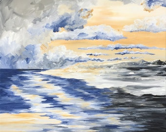 Original Acrylic Landcape Painting, Light of Creation