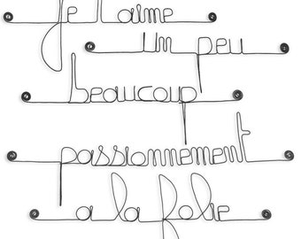 Wire - quote wall art: I love you, a little lot, passionately, crazy - black