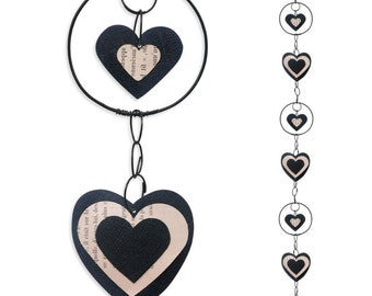 Wire - coloured Garland - black - heart wall hanging