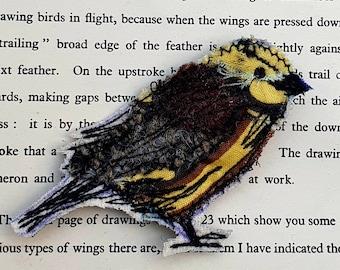 Appliqué Yellow Hammer Bird Brooch