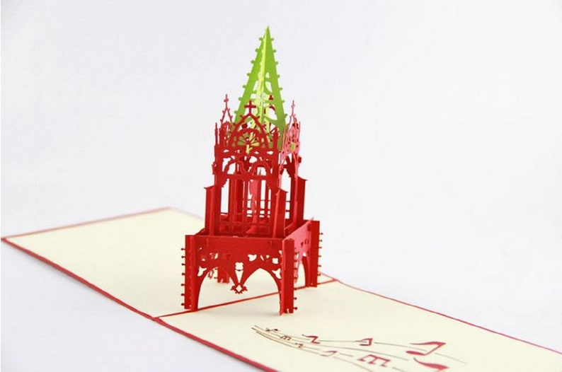 Handmade 3D pop up card Christmas holy angel halo music tower vintage green  red Gothic church religious traditional Xmas table ornament gift