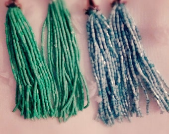 Long green and blue earings