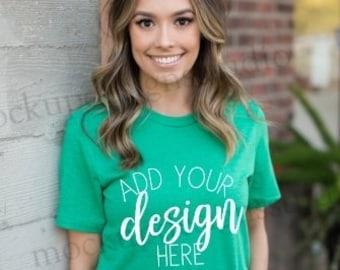 Download Free Bella 3001 kelly green shirt mockup, kelly shirt mock up, kelly crewneck model mock up, bella 3001 model mock up, shirt model mockup PSD Template