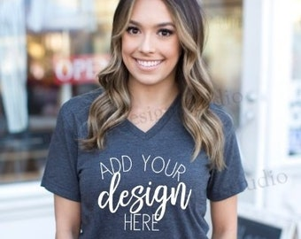 Download Free Dark gray model mockup, Bella 3005 dark grey heather shirt mockup, dark gray heather mock up, dark grey shirt model mock up, model mock up PSD Template