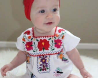 fc767c0b56a Mommy and Me Mexican Puebla Dress Many Colors with Hand Embroidered Flowers  made in Mexico Baby to Adult Sizes Fiesta
