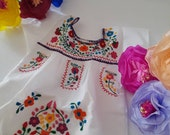 Mexican Puebla Girls Dress, Many colors Mexico Folk Hand Embroidered Flowers, Fiesta Birthday Easter Dress, Special Occasion Dress
