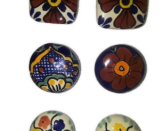 Round Talavera Design Ceramic Knobs Pulls Kitchen Drawer Cabinet Dresser 1186