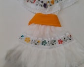 2 piece Gorgeous White Mexican Girl 39 s Dress , Bright Embroidered Flowers, Fiesta Birthday Party Dress Toddler Dress Hand Made in Mexico