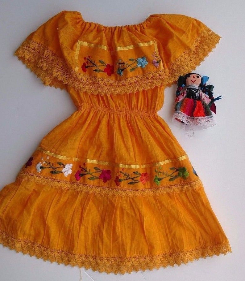 Bright Embroidered Flowers Variety of Color/'s Mexican Girl/'s Dress Fiesta Birthday Cinco De Mayo Dress Handmade in Mexico A Coco Favorite