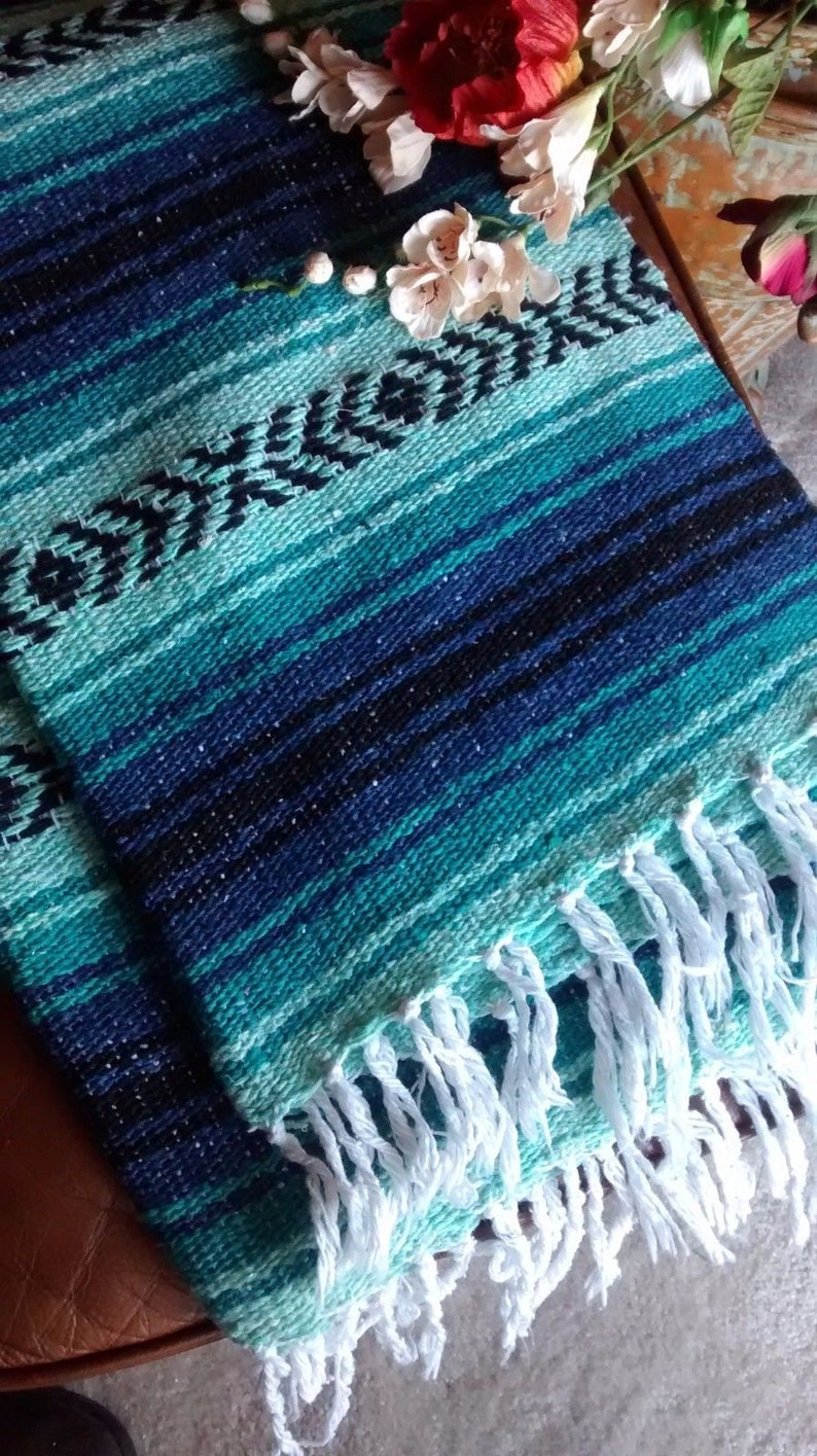 RARE Color Falsa Mexican Blanket Mint Green and Blue with image 0